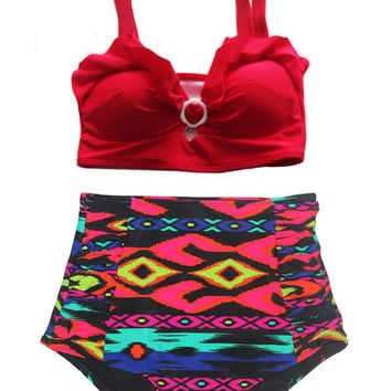 Red Tribal High Waisted Swimsuit (Red Top and Tribal Bottom shorts Vintage Swimsuit) High Waist Swimsuits Bikini Sailor Bathing suit S M L
