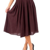 2LUV Women's Solid Color Maxi Skirt W/ Side Slit Detail