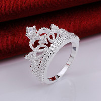 christmas Gift 925 stamped silver plated vintage jewelry aliancas casamento austrian crystal crown rings for women
