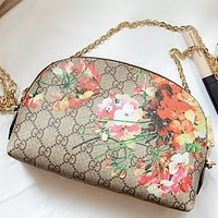 GUCCI New fashion floral more letter print leather chain shoulder bag crossbody bag