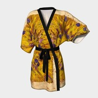 Yellow Floral Kimono * Flowered Multi-colored Kimono * Festival Clothing * Japanese Kimono * Boho Kimono * Kimono Wrap * Eco Friendly