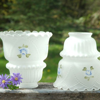 Two Vintage Frosted White Glass Lamp Shades with Handpainted Blue Flowers