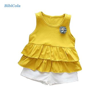 Summer Baby Girls Clothes Suits Infant Toddler Cotton Beach Style Top White Shorts Children Kids Girls Clothing Set