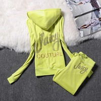 Juicy Couture Logo Velour Tracksuit 2128 2pcs Women Suits Green