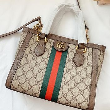 GUCCI Fashion New Stripe More Letter Print Leather Shoulder Bag Crossbody Bag Handbag