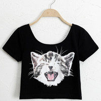 Black Kitty Print Short Sleeve Graphic Cropped Top