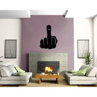 Man Fist Middle Finger Rude Fuck Off Sign Decor Wall Mural Vinyl Art Sticker (M522 22.5 in by 35 in)