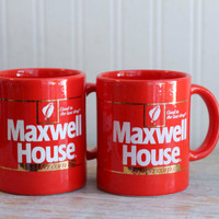 Bright Red Maxwell House Good to the Last Drop Instant Coffee Mugs, Set of 2, Made  Japan, Vintage Coffee Cups, His and Hers, Retro Kitchen