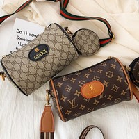 Louis Vuitton x Gucci fashion hit selling a women's slant pillow bag with a printed leather label