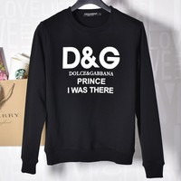 Dolce & Gabbana New fashion Autumn and winter bust letter print loose leisure long sleeve top sweater Black