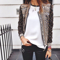 Fashion Slim Print Women Winter Jackets Elastic Waist Full Length Club Casual Jacket = 1920039108