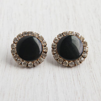 Vintage Black and Clear Rhinestone Post Earrings -  Gold Tone Faux Diamond Large Round Costume Jewelry - Glamorous Evening