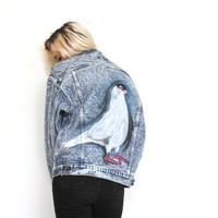 PIGEON KIDS, pigeon airbrushed denim jacket