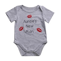 Baby Girl Boy Red Lip Print Outfit Romper Short Sleeve Jumpsuit Clothes Baby Clothing