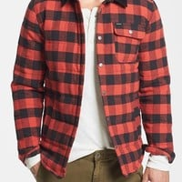 Men's Brixton 'Cass' Quilted Check Flannel Shirt Jacket with Corduroy Collar