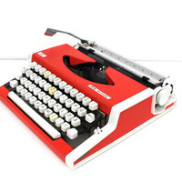 Working typewriter red Unis tbm de Lux new ribbon good working condition