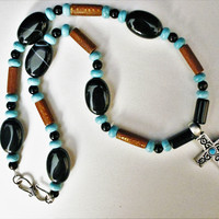 Men's Celtic Cross with Turquoise, Black Agate and Wood Necklace