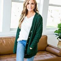 Hunter Green Popcorn Cardigan