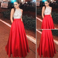 Long Elegant Sequin Patchwork Formal Party Ball Gown Prom Bridesmaid Wedding Slim Dress