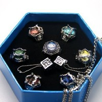 CTMWEB Katekyo Hitman Reborn - Set of Seven Gem Rings and Necklace 2nd Ver