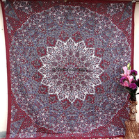 Hippie Boho Wall Tapestries, Psychedelic Mandala Tapestry Wall Hanging, Indian Bedspread Bohemian Room Décor, Dorm Bedding Tapestry Art