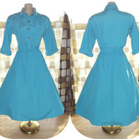 Vintage 80s 50s Atomic Turquoise Rockabilly Dress VLV  M/ L Shirt Waist Full Swing