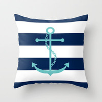 Aqua Anchor Shape on Wide Stripes Pattern Throw Pillow by heartlocked