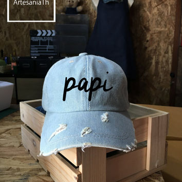 PAPI Baseball Cap, Denim Cap, Gift For Grandpa Father's Dad Gift, Low-Profile, New dad gift