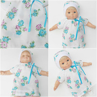 """FREE SHIPPING, bitty baby clothes, twin or girl 15"""" doll EASTER Dress & Hat white turquoise purple flower adorabledolldesigns -summer!"""