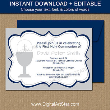 Navy & Gray First Communion Invitations Download - Printable Boy First Communion Invitation Template - EDITABLE Invites Instant Download