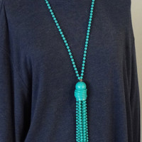 Vintage Beaded Long Tassel Necklace Plastic Turquoise Color With Gray Swirls 23.5 Inches Long Hippie Boho