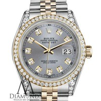 Rolex Stainless Steel & 18k 36mm Datejust Watch Grey Diamond Dial With a Track