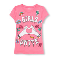 Girls Short Sleeve 'Girls Unite' Patch Graphic Tee | The Children's Place