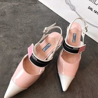 Prada Two-tone leather slingbacks