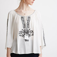 Embroidered Crepe Peasant Top