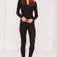 Missguided - Ribbed Top and Legging Pj Set Black