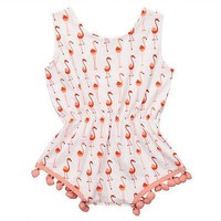 Pom Pom Pink Flamingos Playsuit