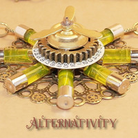 Steampunk Necklace with tubes containing UV glow liquid and spinning Propeller