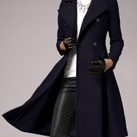Deep Blue Double Breasted Swing Coat