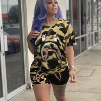BAPE AAPE Summer Newest Women Casual Print Shorts Sleeve Top Shorts Set Two Piece Sportswear Camouflage Yellow