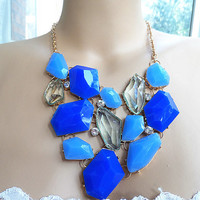 Statement Necklace Set, earrings, rectangles necklace, bib necklace, wedding party bridesmaid jewelry.