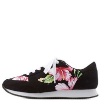 Black Tropical Print Lace-Up Sneakers by Charlotte Russe