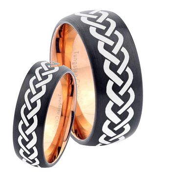 His Hers Laser Celtic Knots Dome Tungsten Rose Gold Mens Wedding Band Set