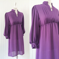 1970s vintage sheer purple chiffon high waisted babydoll mini // pleated bust ultra draped sleeves // petite size XS S