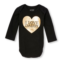 Baby Girls Long Sleeve 'I Love Daddy' Foil Heart Little Talker Bodysuit | The Children's Place