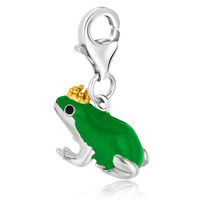 Sterling Silver Green Enameled Frog Prince Charm