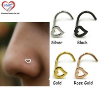 Showlove-4pcs Surgical Steel Hollow Heart Nose Screw Rings Studs Piercing Free Shipping