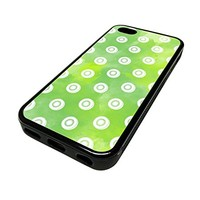 For Apple Iphone 5 or 5s Cute Phone Cases for Girls Green Kiwi Fruit Pattern Design Cover Skin Black Rubber Silicone Teen Gift Vintage Hipster Fashion Design Art Print Cell Phone Accessories