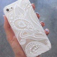 iPhone 6 Case,iPhone 6S Case LUOLNH Henna White Floral Paisley Flower Hard Plastic Clear Case Silicone Skin Cover for Apple Iphone6 4.7 inch Screen