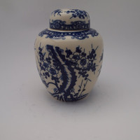 Vintage Chinese Blue and White Ginger Jar with Cherry Blossom Design